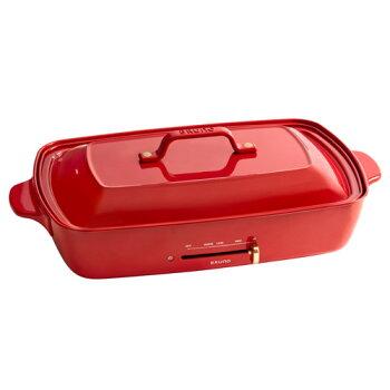 グランデホットプレートレッド仕切り鍋+グリルプレートセットBRUNOBOE026赤おしゃれ焼肉たこ焼き器大型ホットプレート【送料無料】