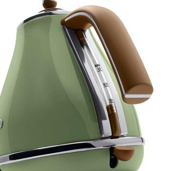 【デロンギ認定店正規品】デロンギアイコナおしゃれ電気ケトル1LオリーブグリーンKBOV1200J-GR【送料無料】ステンレス電気ポット湯沸かしケトル湯沸かしポット