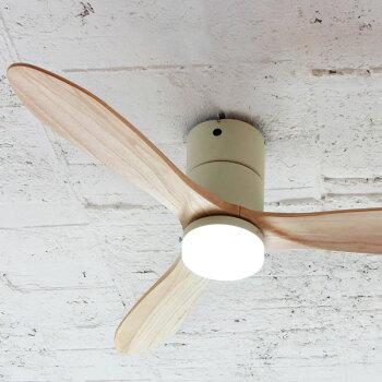 シーリングファン木製LED電球色リモコンライト木目E-CF017-WHホワイトナチュラルベージュシーリングファンライト天井照明おしゃれレトロインテリア照明天井ライトサーキュレーター扇風機静音シーリングライト天井ファン送料無料
