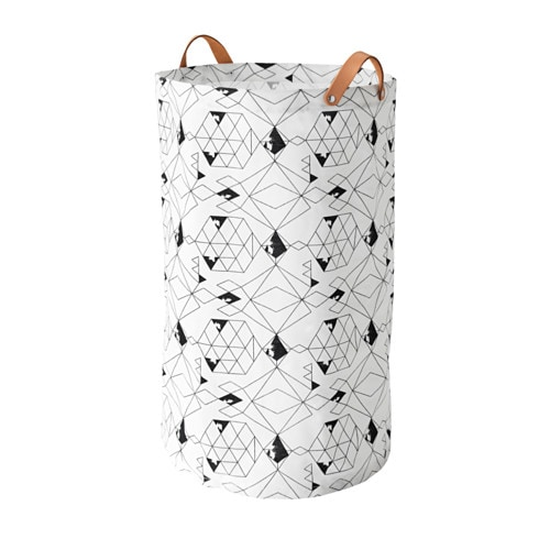 IKEAイケアPLUMSAランドリーバッグホワイトブラックn60364337