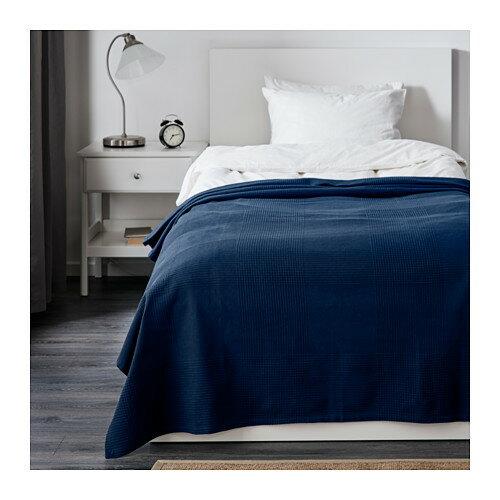 IKEAイケアベッドカバーシングル150cmx250cmダークブルー青INDIRA30191767