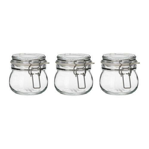 IKEA イケア KORKEN ふた付き容器/ 3 ピース クリアガラス a10325112