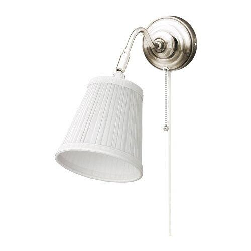 IKEA イケア ウォールランプ ニッケルメッキ ホワイト 白 00163879 ARSTID