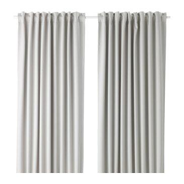 IKEA(イケア) MAJGULL 遮光カーテン1組 ライトグレー b10346751