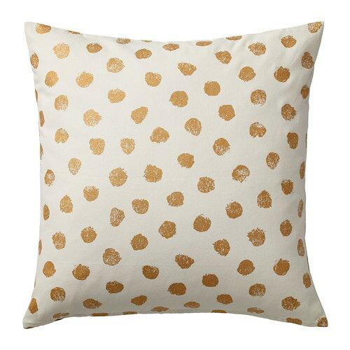 IKEA イケア クッションカバー ホワイト 白 ゴールドカラー 50x50cm z20415541 SKAGGORT