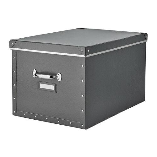 IKEA イケア FJALLA 収納ボックス ふた付き ダークグレー z20395675