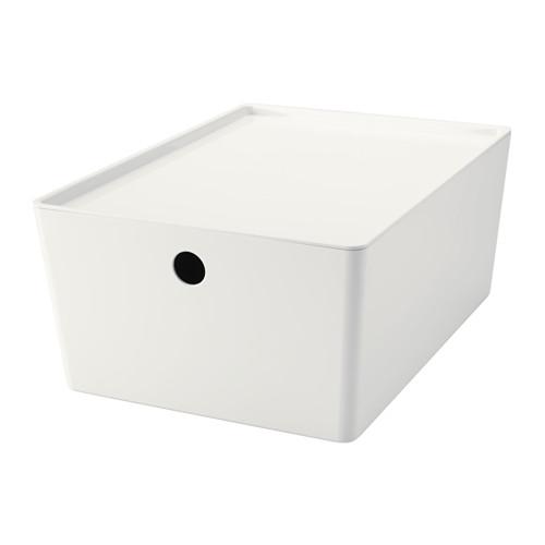 IKEA イケア ふた付きボックス ホワイト 白 26x35x15cm d90280204 KUGGISの写真