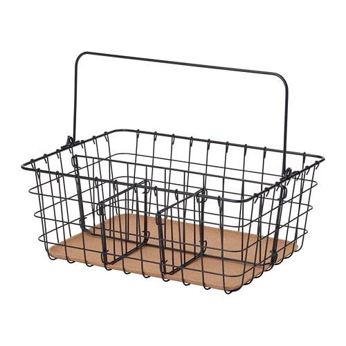 IKEA イケア PLEJA プレイヤ ワイヤーバスケット かご 持ち手付き 36x27x15cm ブラック 黒 z00348053