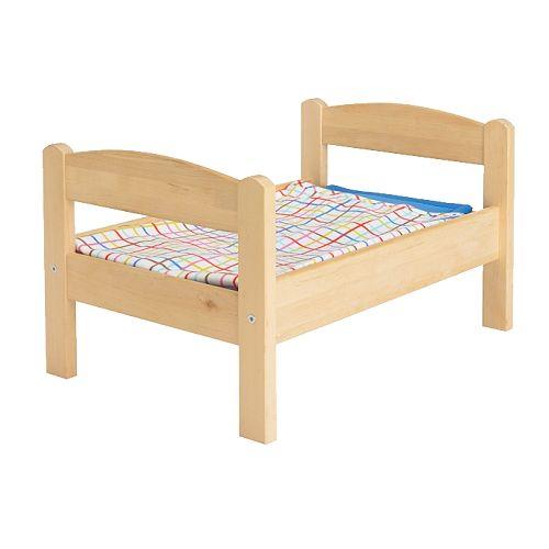 IKEA イケア 人形用ベッド ベッドリネンセット付き パイン材 マルチカラー 20167838 DUKTIG