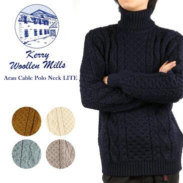 即日発送 ケリーウーレンミルズ Kerry Woollen Mills セーター Aran Cable Polo Neck LITE 【服】ハイネック
