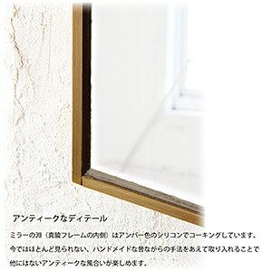 【日本製】ウォールミラーS真鍮フレーム150×270/壁掛けミラー真鍮鏡シェルフ飾り棚付きブラスおしゃれアンティークナチュラルインターワークストイレ収納雑貨