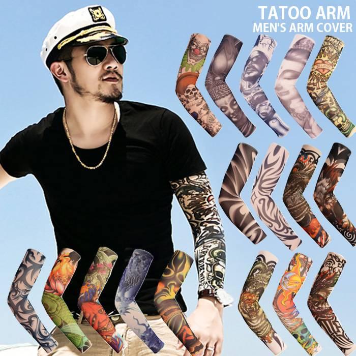 メンズ Tシャツ タンクトップ タトゥーアームカバー タトゥーサポーター 片腕 オラオラ系 刺青 入れ墨 和彫 あす楽 ネコポス送料無料