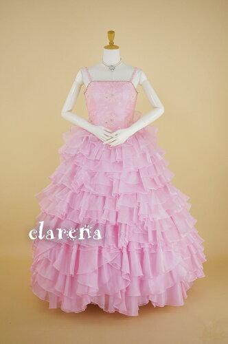 裾上げ加工済み ピンクに段々フリル カラードレス 13-17号(CLC3912) (USED...
