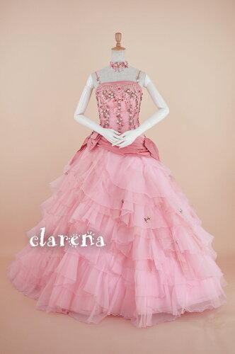 [売切れ御礼]チョーカー付 ピンクに小花・リボン カラードレス 7-11号(CLC3957)(USED品)(...