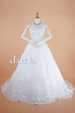 ウエディングドレス 結婚式 花嫁 プリンセス[送料無料] 白サテン地に花々 ロングドレス 9-13号(CLW998) 中古 (USED品)(リサイクル)中古ドレス