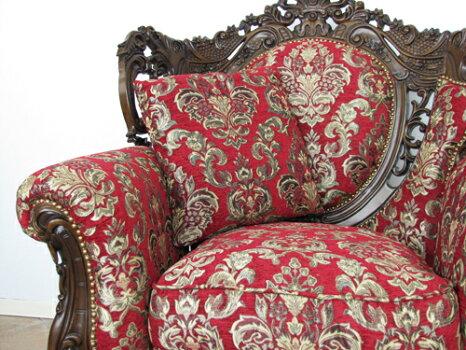 猫脚シングルソファ贅沢家具ロココ調スタイルアンティーク風リプロダクトハンドメイド仕上げ1011-1-5F101