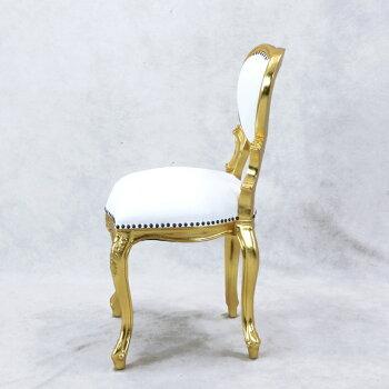 ハートデザインチェアリプロダクト大人かわいい猫脚豪華インテリアイタリア風食卓椅子木製家具ハンドメイド仕上げゴールドフレーム×アンティークホワイト本革(一部PVC)6087-S-10L5