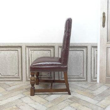 ヴィンセントダイニングチェア食卓椅子ブラウンフェイクレザー赤茶PU9002-H-5P38B