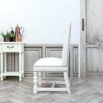 ヴィンセントダイニングチェア食卓椅子ホワイトフェイクレザー白PU9002-H-18P65B