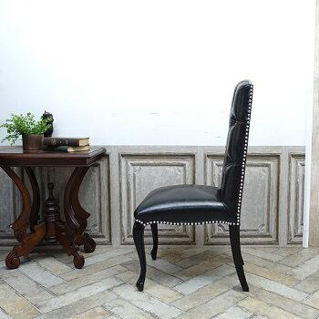 ヴィンセントダイニングチェア食卓椅子フェイクレザーPUブラック黒9014-8P51B