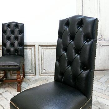 ヴィンセントダイニングチェア食卓椅子ブラックフェイクレザー黒PU9002-H-5P32B