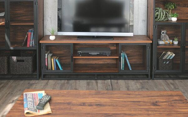 インダストリアル家具クールスチールアイアン鉄ガレージハウステレビ台テレビボードTVサイドボード木製スチールアイアン鉄ビンテージヴ