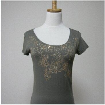 PIECE MONTEE  ラメとビーズ付き花柄Tシャツ