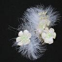 羽根つき梅花の二個セットヘア飾り