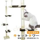 【送料無料】キャットタワー突っ張り麻紐爪とぎ付き/キャットポール木登りネコタワー高さ230〜260cmシンプルスリム猫のお家