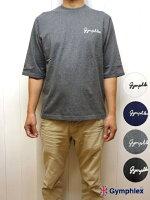 ジムフレックスメンズハーフスリーブ5分袖クルーネックTシャツロゴ刺繍Gymphlex
