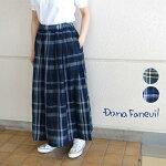 ダナファヌルリネンチェックロングスカート日本製Danafaneuilレディース