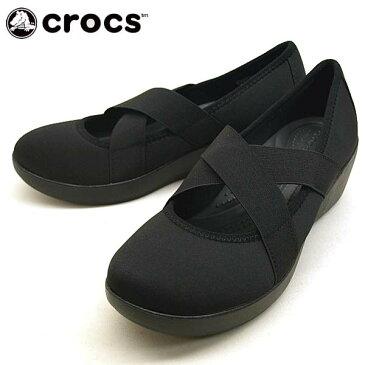 クロックス crocs busy day strappy wedge w 205306 060 黒 ビジーデイ ストラッピー ウェッジ スリッポン レディース