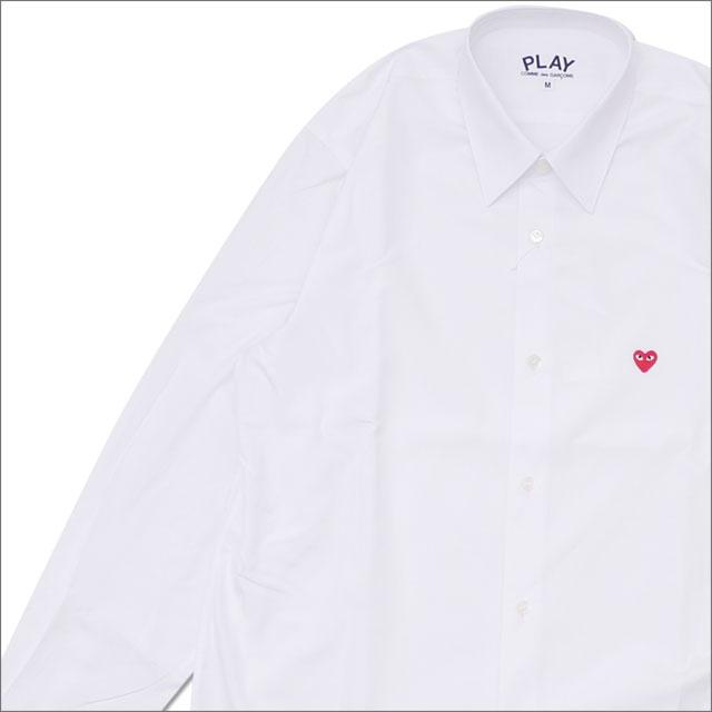 トップス, カジュアルシャツ PLAY COMME des GARCONS MENS MINI RED HEART L S SHIRT WHITE 216001526040x TOPS