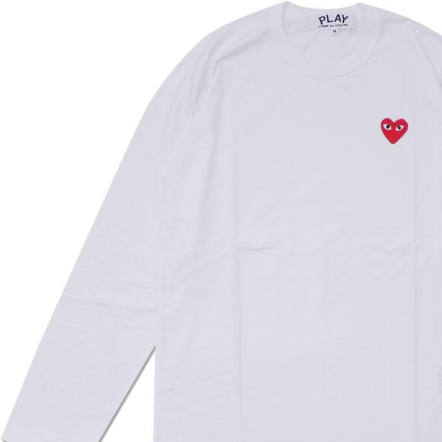 トップス, Tシャツ・カットソー 20213 PLAY COMME des GARCONS MENS RED HEART WAPPEN LS TEE T WHITE 200007741040 39
