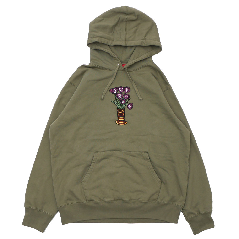 Supreme Flowers Hooded Sweatshirt Light Olive