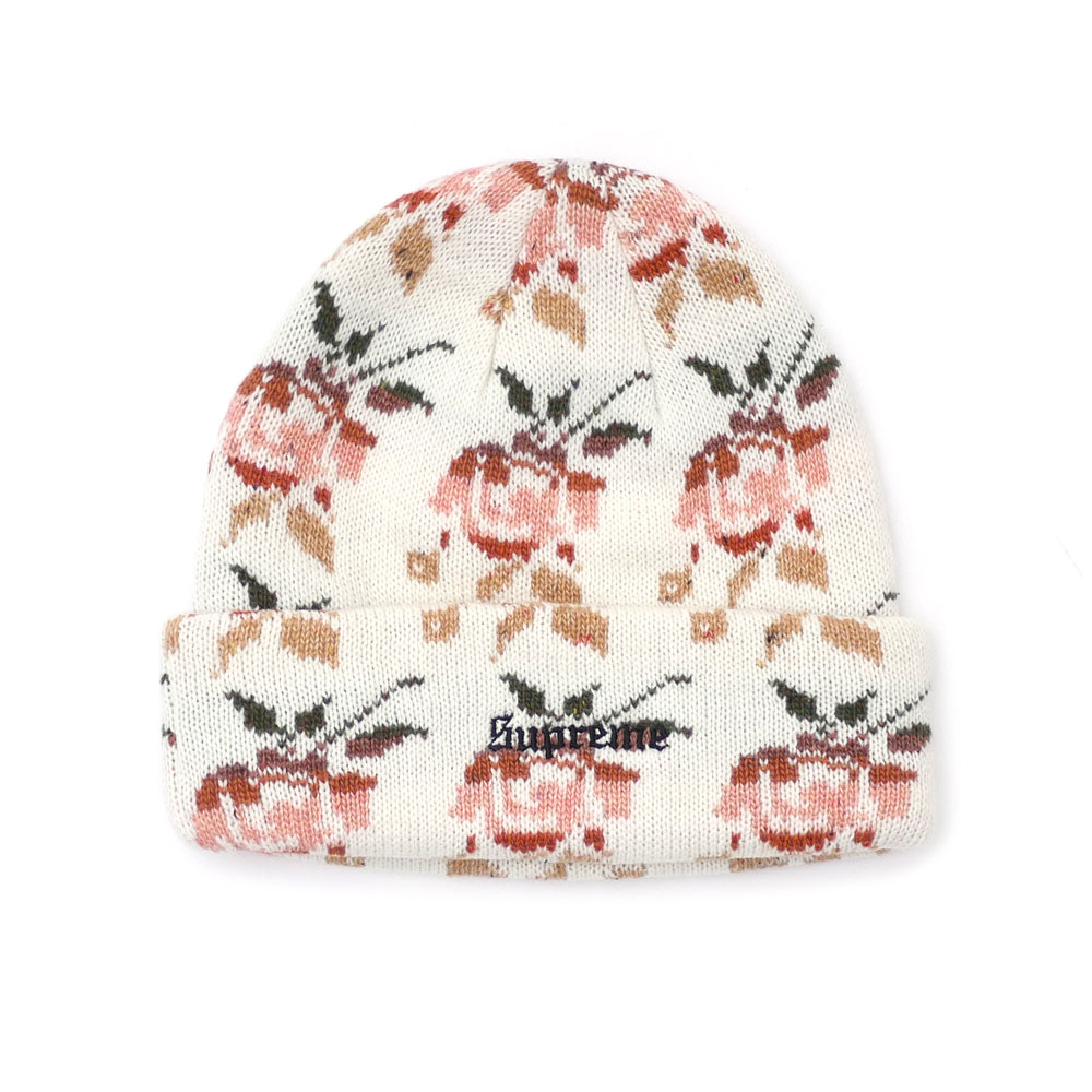 485f20a7ce0 Here comes a beanie with nice rose pattern. Old-English Logo on the hem  adds spice!