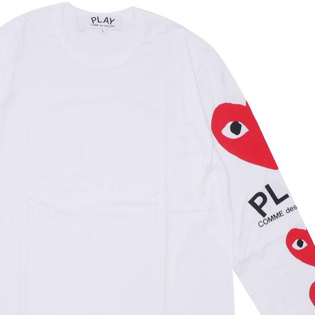 トップス, Tシャツ・カットソー  PLAY COMME des GARCONS MENS SLEEVE 4HEART LS TEE T WHITE 202001041050