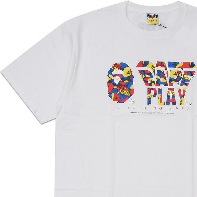 トップス, Tシャツ・カットソー  A BATHING APE x MEDICOM TOY 19SS CAMO BAPE PLAY TEE T WHITE 1F73110906