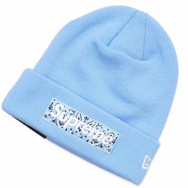 メンズ帽子, ニット帽  SUPREME New Era Box Logo Beanie LIGHT BLUE