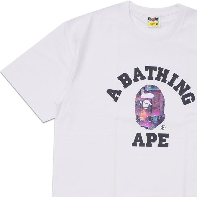 トップス, Tシャツ・カットソー  A BATHING APE 20SS NEON TOKYO COLLEGE TEE T WHITE 2020SS 20SS 1G30110036