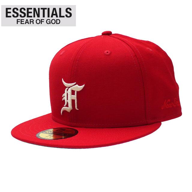 メンズ帽子, キャップ 20213 ESSENTIALS x NEW ERA 59FIFTY FITTED CAP RED FEAR OF GOD FOG