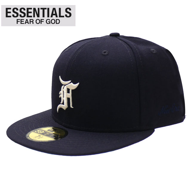 メンズ帽子, キャップ 20213 ESSENTIALS x NEW ERA 59FIFTY FITTED CAP NAVY FEAR OF GOD FOG