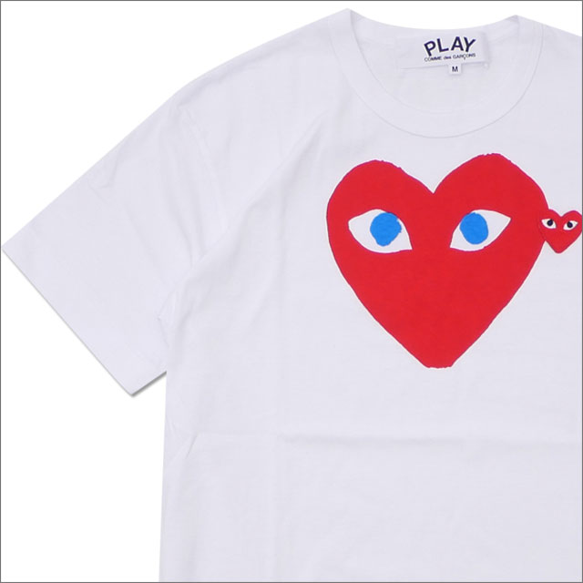 トップス, Tシャツ・カットソー  PLAY COMME des GARCONS MENS BLUE EYE HEART PRINT TEE T WHITExRED 200007771040