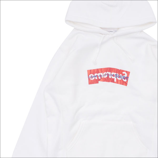 SUPREME(シュプリーム) x COMME des GARCONS SHIRT(コムデギャルソン シャツ) Box Logo Hooded Sweatshirt (ボックスロゴ)(スウェットパーカー) WHITE 211-000487-130+【新品】:Cliff Edge