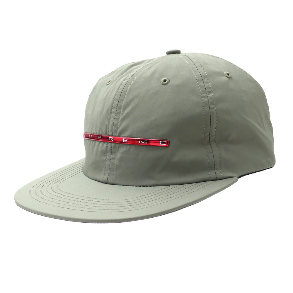 b089d166c4c SUPREME   Chrome Stripe 6-Panel OLIVE