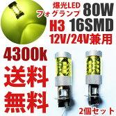 送料無料wd1112V/24VH3爆光LEDフォグランプ80W2個セット黄色オレンジ4300k