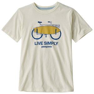 パタゴニア ◆ ボーイズ グラフィック オーガニック Tシャツ ( Live Simply Amphibious Bike / White Wash ) ★ 子ども用 ★