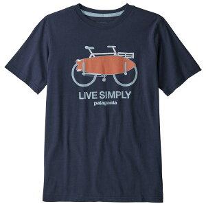 パタゴニア ◆ ボーイズ グラフィック オーガニック Tシャツ ( Live Simply Amphibious Bike: New Navy ) ★ 子ども用 ★
