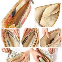 財布にお花が咲いたような美しい色彩の長財布本革エナメルコーティングレザーイタリア牛革花柄カードポケット×20薄い小銭入れありビーチェ・ドゥ