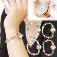 【「願い」も「かわいい」も叶っちゃう!?】キラキラブレスレット腕時計 パワーストーン付きだから、アクセサリーとしても!レディース腕時計 金運 恋愛 お守り ピンク【パワーストーン腕時計】アリーチェ・ドゥ